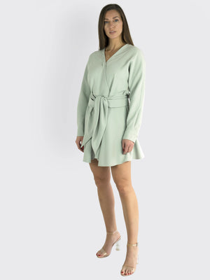 TIBI - Chalky Drape Midi Wrap Dress