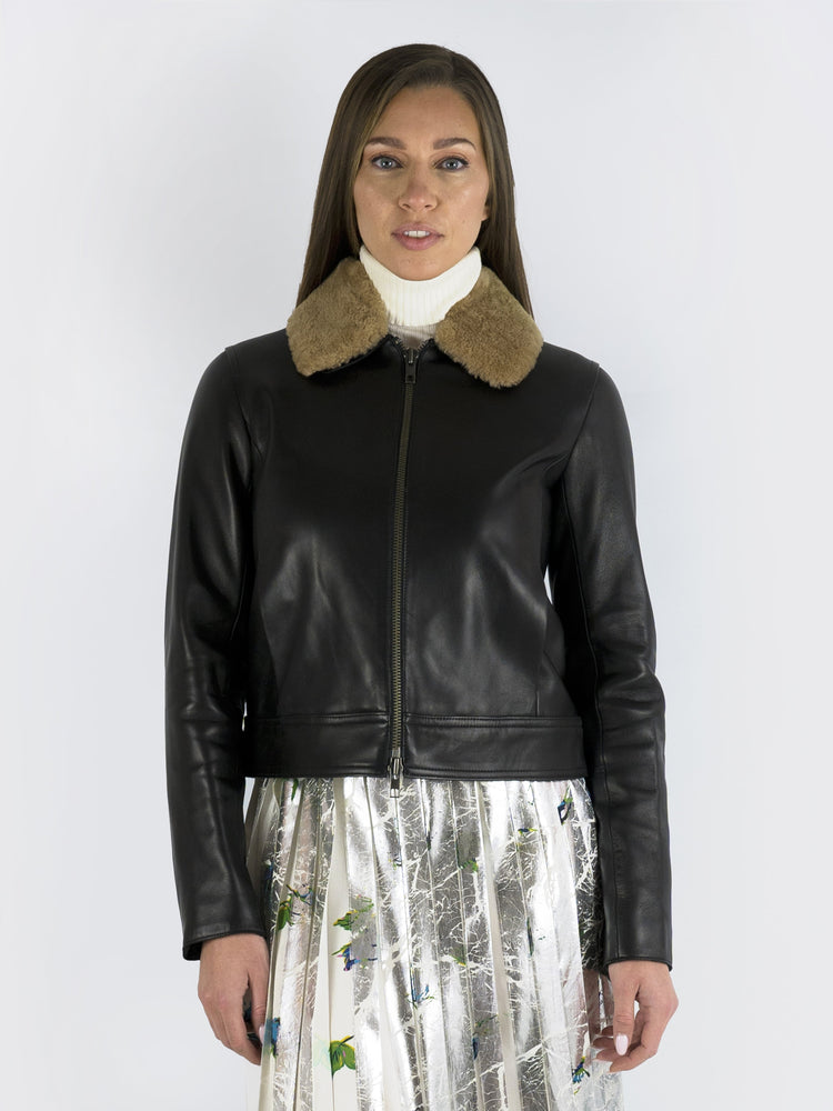 VINCE – Lambskin Collared Leather Jacket
