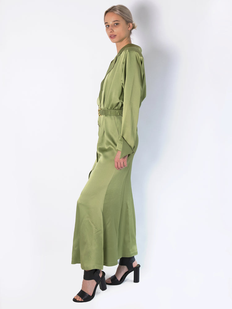 DoDo Bar Or - Tamara Belted Satin Maxi Shirt Kleid