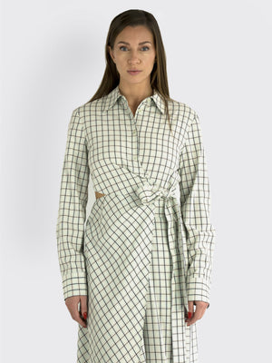 Load image into Gallery viewer, TIBI - Elliot Checkered Cut-Out Midi Dress