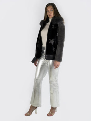 Load image into Gallery viewer, Philosophy Di Lorenzo Serafini – Metallic Leather Flared Pants