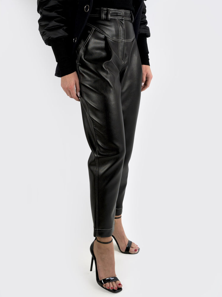 Philosophy Di Lorenzo Serafini - Cropped Faux Leather Tapered Pants