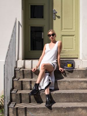 MRZ - White Black Ribbed-Knit Dress