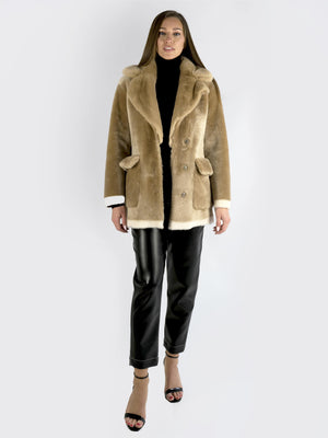 Load image into Gallery viewer, Natasha Et Vanessa – Two-Colored Fur Coat