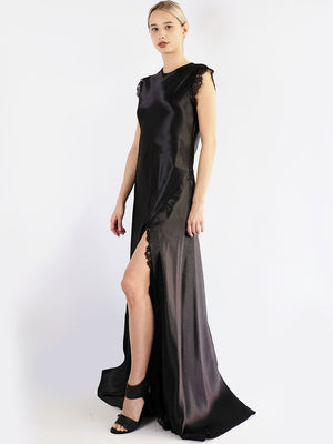 Load image into Gallery viewer, Philosophy Di Lorenzo Serafini - Long Satin Dress With Lace In Black