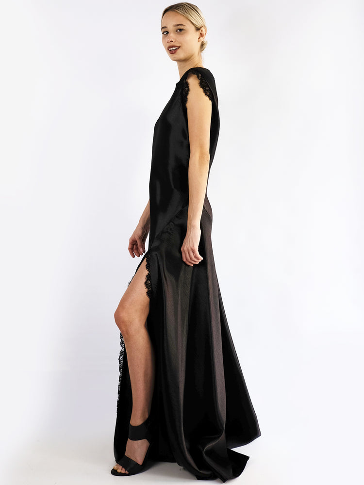Philosophy Di Lorenzo Serafini - Long Satin Dress With Lace In Black