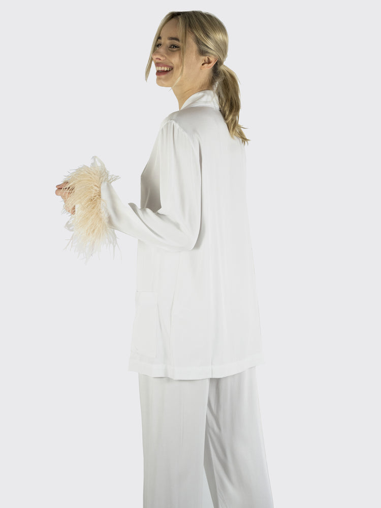 Sleeper - Party Pajama Set With Feathers In White