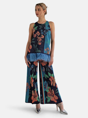 Load image into Gallery viewer, Circus Hotel - Floral Print Lurex Pants