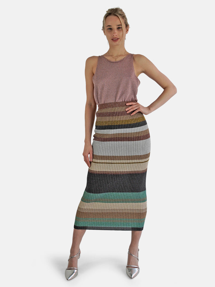Circus Hotel - Multicolor Striped Lurex Skirt Long