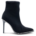 Alexander Wang -  Eri Studded Stretch Ribbed-Knit Ankle Boots