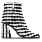 TIBI - Nora Gingham Ankle Boots Black/White