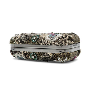 Alice + Olivia Metallic Paisley Hard Shell Clutch