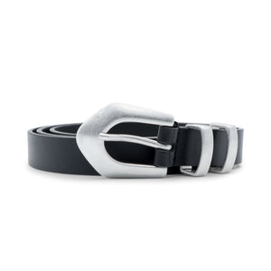Load image into Gallery viewer, Philosophy di Lorenzo Serafini Silver-Tone Buckle Leather Belt