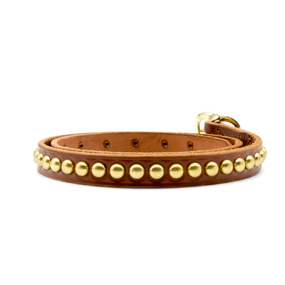 Pink Motel Leather Belt with Gold Studs Brown
