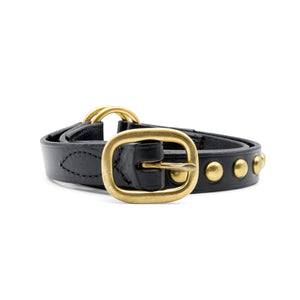 Pink Motel Leather Belt with Gold Studs Black