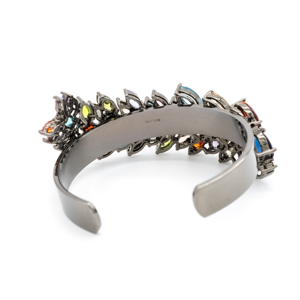 Iosselliani Gunmetal-Tone Brass Cuff with Multicolor Stones