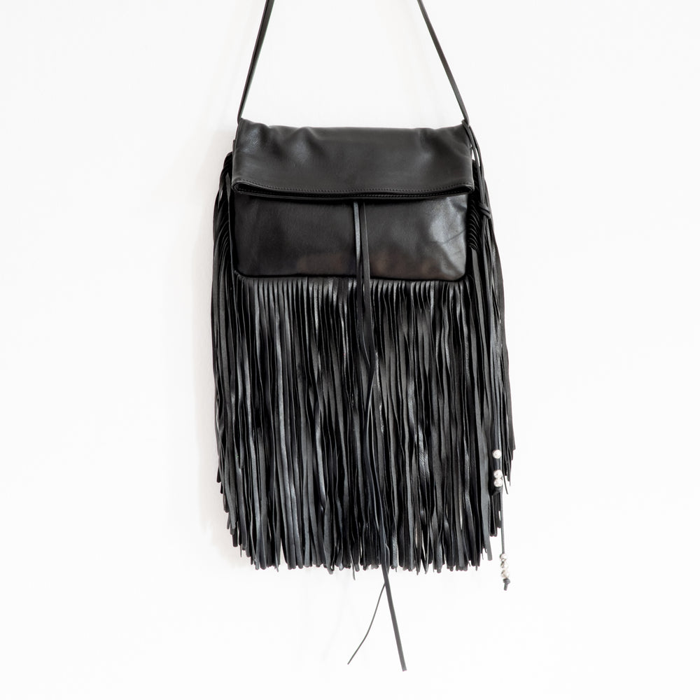 Load image into Gallery viewer, Barbara Bonner - Black Ginger Fringed Leather Shoulder Bag