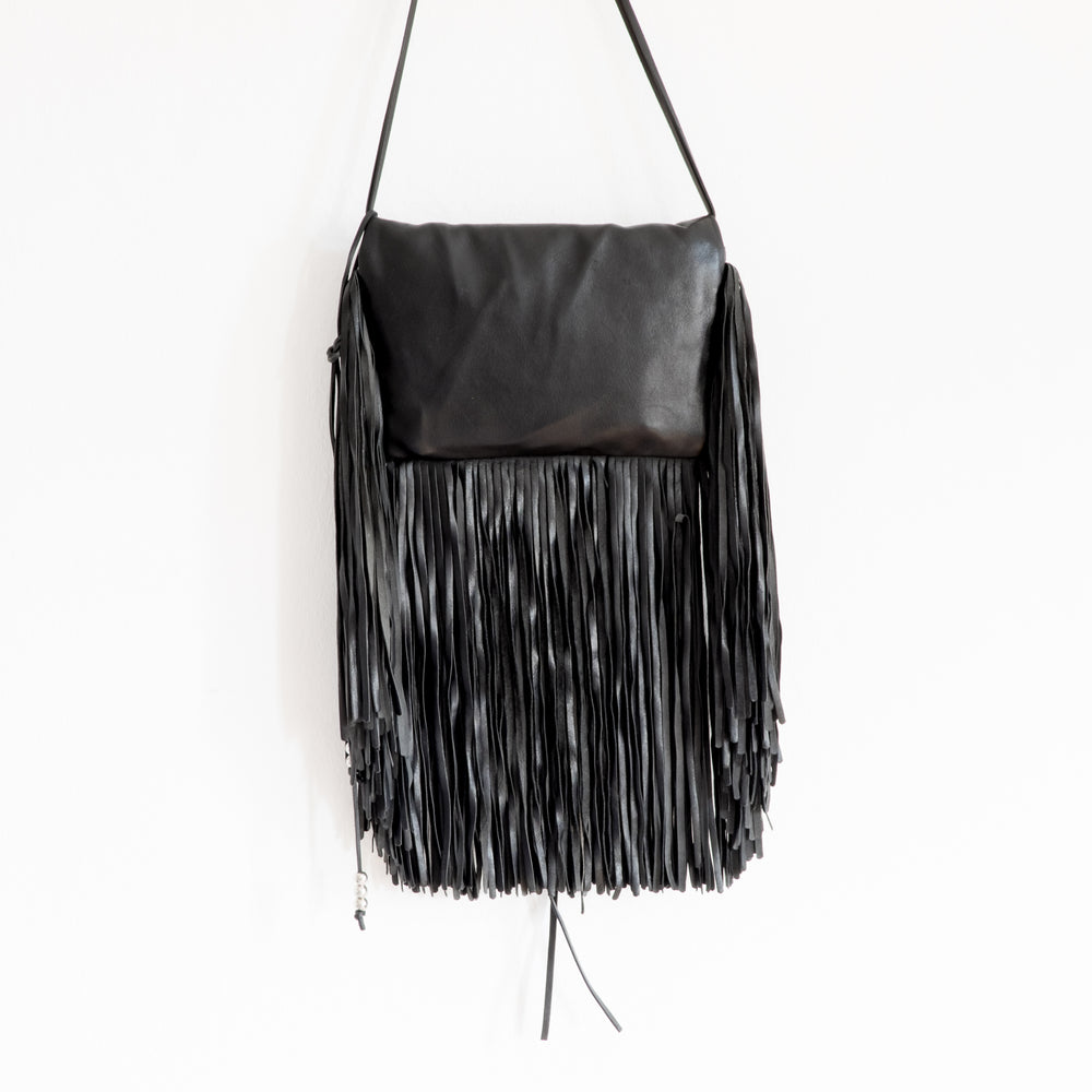 Barbara Bonner - Black Ginger Fringed Leather Shoulder Bag