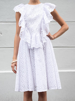 MSGM White Ruffled Openwork Dress