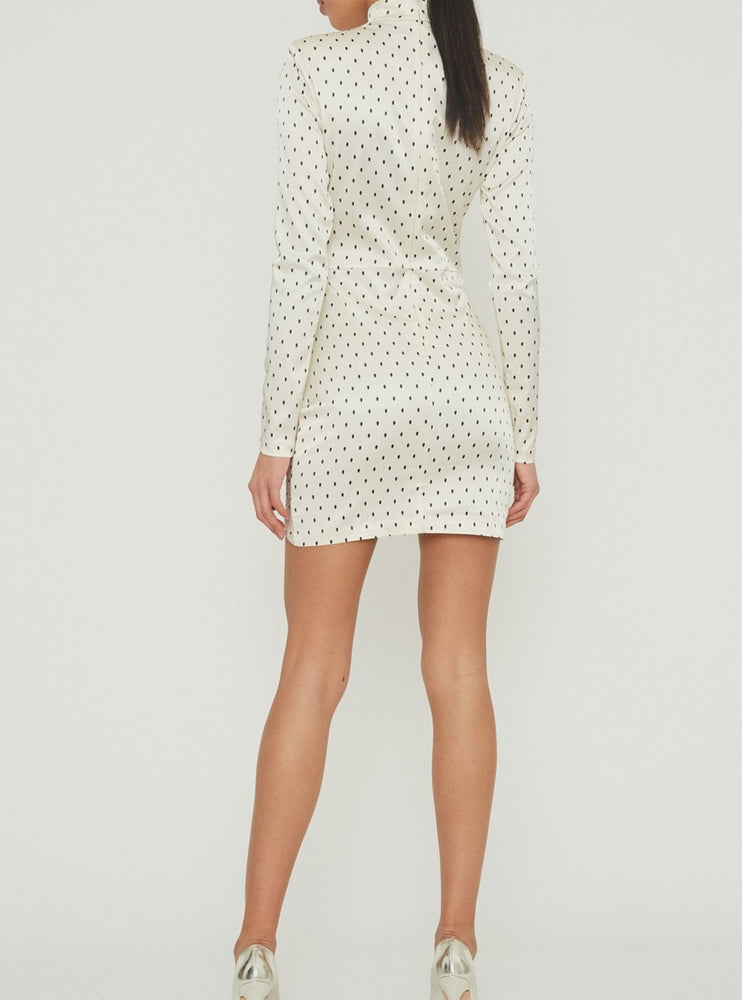 Rotate Birger Christensen Minna ruched polka-dot satin mini dress