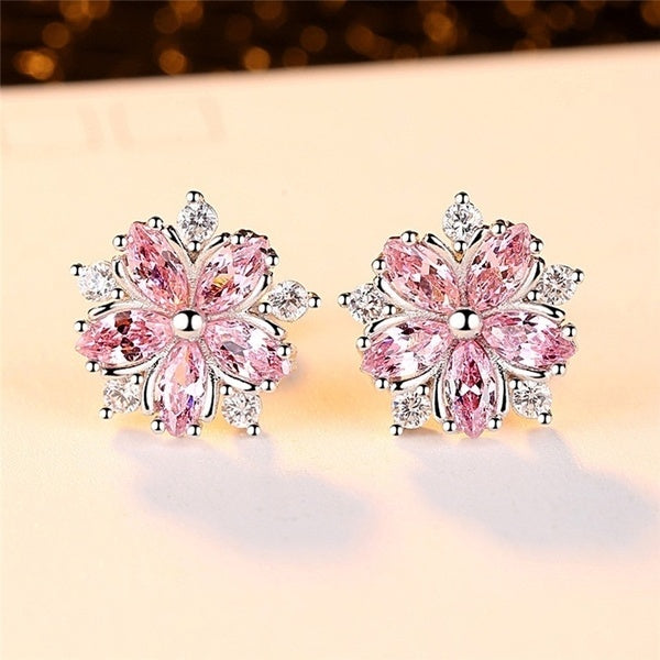 Cute 925 Sterling Silver Pink Topaz Cross CZ Diamond Sakura Flower Stud Earrings Wedding Jewelry Gifts