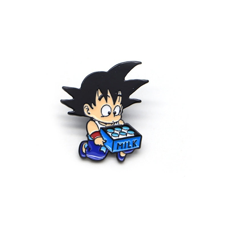 Cartoon Anime Goku Brooches for Men DRAGON BALL Enamel Pins for Kids Lapel Pin Bag Pins Hat Badge Wukong Moving Milk Brooch SC4791