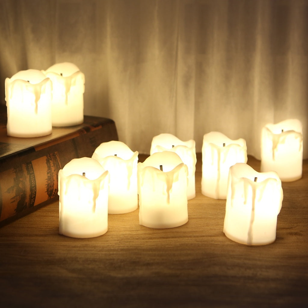 Plastic Battery Powered LED Candle Light Flameless Tealight Festival Wedding Decor    JHF