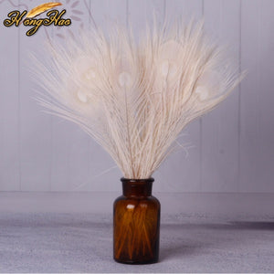Beautiful white peacock feathers, 30-35 cm, 10 pcs, fashiondecorate Crafts,