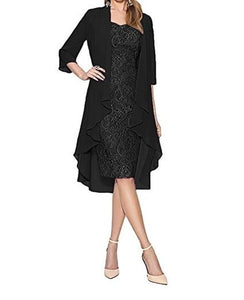 Womens Fashion Two Pieces Charming Knee Length Lace Evening Gowns Party Dresses Mother Bride Dresses Plus Size S-5XL