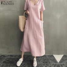 Load image into Gallery viewer, zanzea Vintage Women V Neck Short Sleeve Dress With Pockets Dress Cotton Dress Long Loose Dress