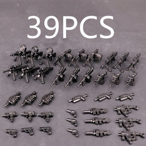 Guns Weapon Pack Military Swat Team City Police Soldiers Figure Building Blocks WW2 Military Army Builder Series Toys 6/13/37/39/111 PCS