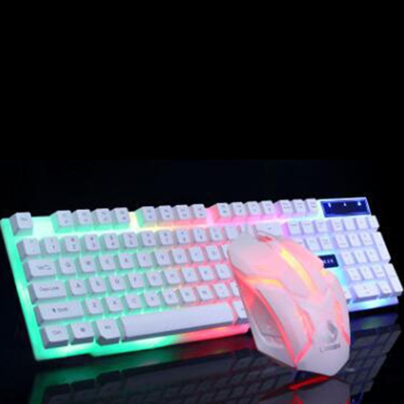 LOMISS New glowing keyboard and mouse set USB keyboard USB mouse glow game suite Keyboard and mouse device Golden/Black/White wlmC-190522001A05