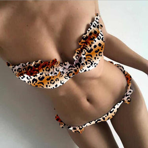 2019 Sexy Flowers Bikinis Women Swimsuit Push Up Bikini Ruffle Swimwear Brazilian Bathing Suit Beachwear Swimming Suit for Women