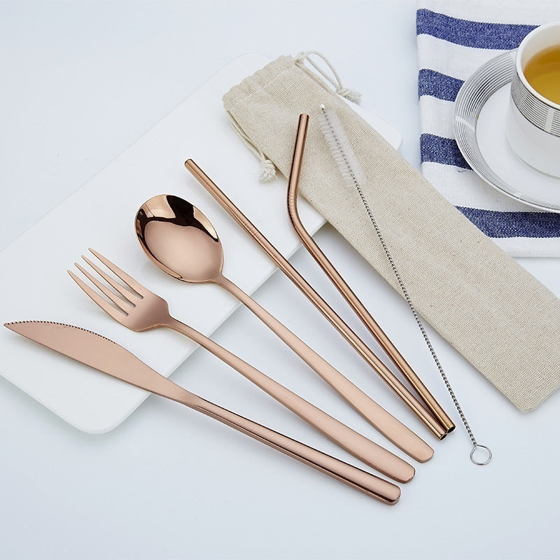 6 Piece/set Creative Portable Outdoor Travel Dinneware Set 304 Stainless Steel Knife and Fork Spoon Straws tableware Set