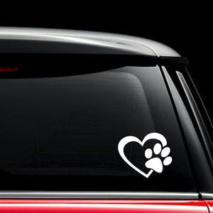 Cute Dog Paw With Peach Heart Car Sticker Motorcycles Sticker Cartoon Animal Adopt Dog Cat Love Pet Car Decal