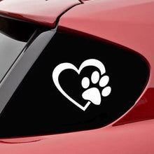Load image into Gallery viewer, Cute Dog Paw With Peach Heart Car Sticker Motorcycles Sticker Cartoon Animal Adopt Dog Cat Love Pet Car Decal