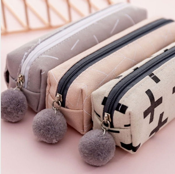 Creative Plush Ball Zipper Canvas Pen Bag Small Fresh Simple Multifunctional and Large Capacity Pencil Bag Student Stationery Bag