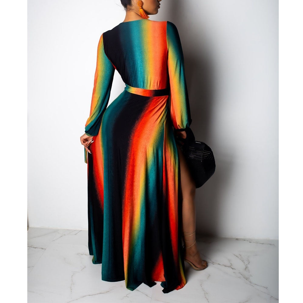 Women Fashion Long Sleeve Colorful Rainbow Stripes Deep V-neck High Side Split Maxi Dress Club Party Sexy Night Long Dresses