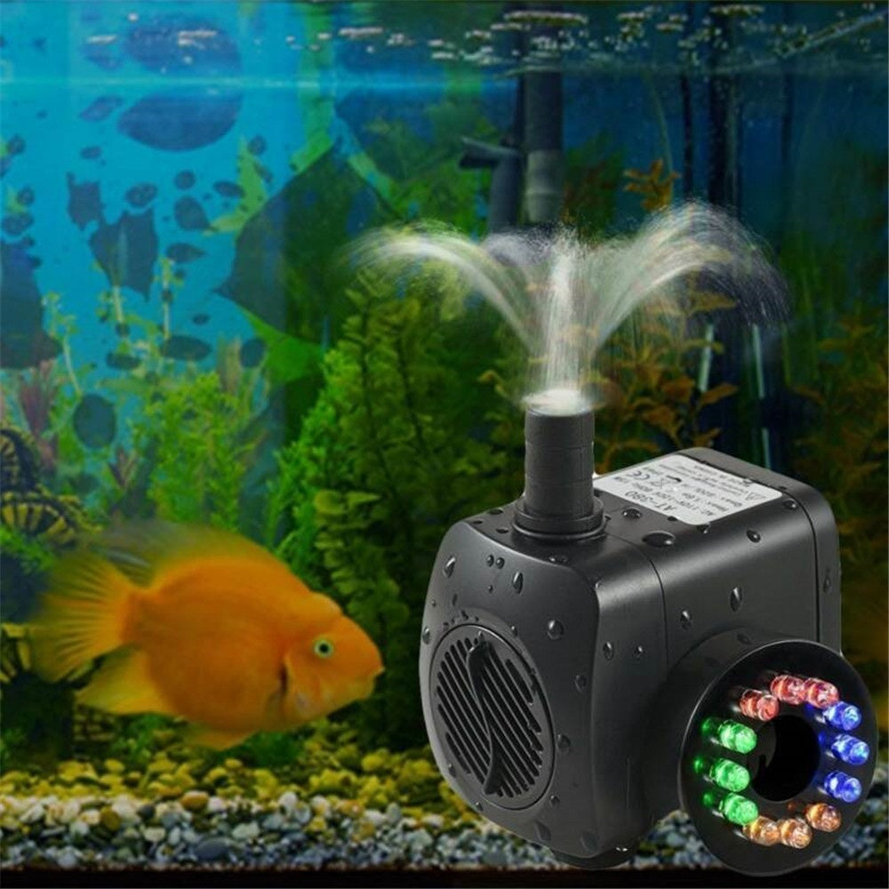 800L/H Electric Water Fountain Pump With 12LED Light Pond Garden Pool