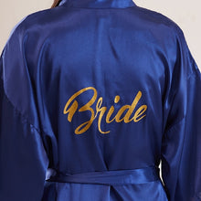 Load image into Gallery viewer, Bride Party Wedding Robe Gold Letters Bride Bridesmaid Robe Wedding Makeup Silk Nightgown