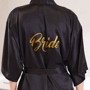 Bride Party Wedding Robe Gold Letters Bride Bridesmaid Robe Wedding Makeup Silk Nightgown
