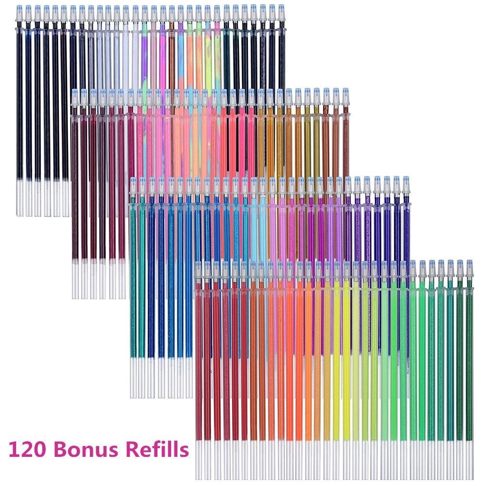 240 Gel Pens Set 120 Colored Gel Pen plus 120 Refills for Adults Coloring Books Drawing Art Markers (No Duplicates)