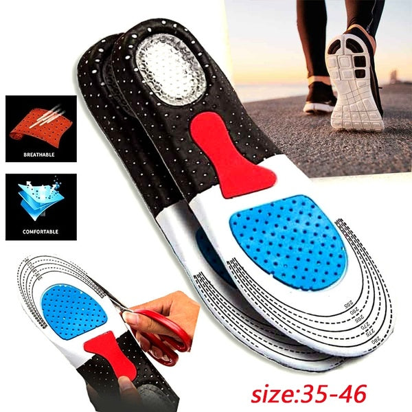 New Sports Shoes Insole Fashion Silica Gel Insoles Orthotic Sport Running Shoes Insoles Croppable Fit for Size 35-46 Yards