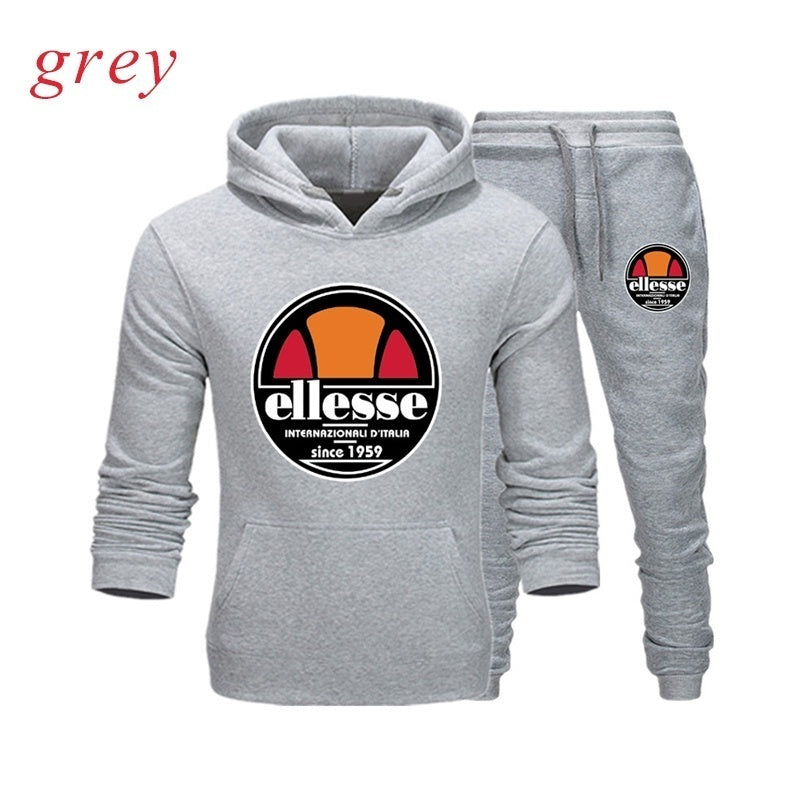 Men Classic  Ellesse Two Piece Set Sport Hoodie And Trousers Casual Pullover Hoodie Jogging Pants