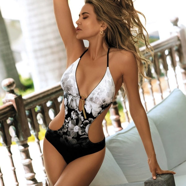 Hot Sale Women One Piece Bodysuit Swimsuit High Cut Backless SwimwearDeep V Neck Beachwear