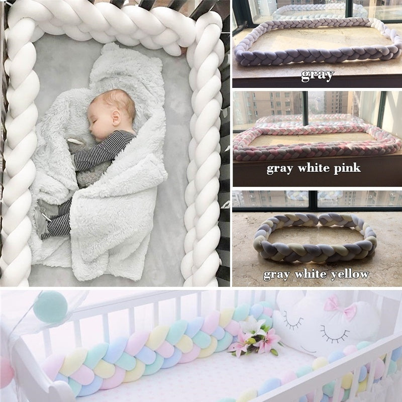1Pcs 1M/2M/3M Baby Handmade Newborn Bed Bumper Long Knotted Braid Pillow Baby Bed Bumper Knot Crib Infant Room Decor