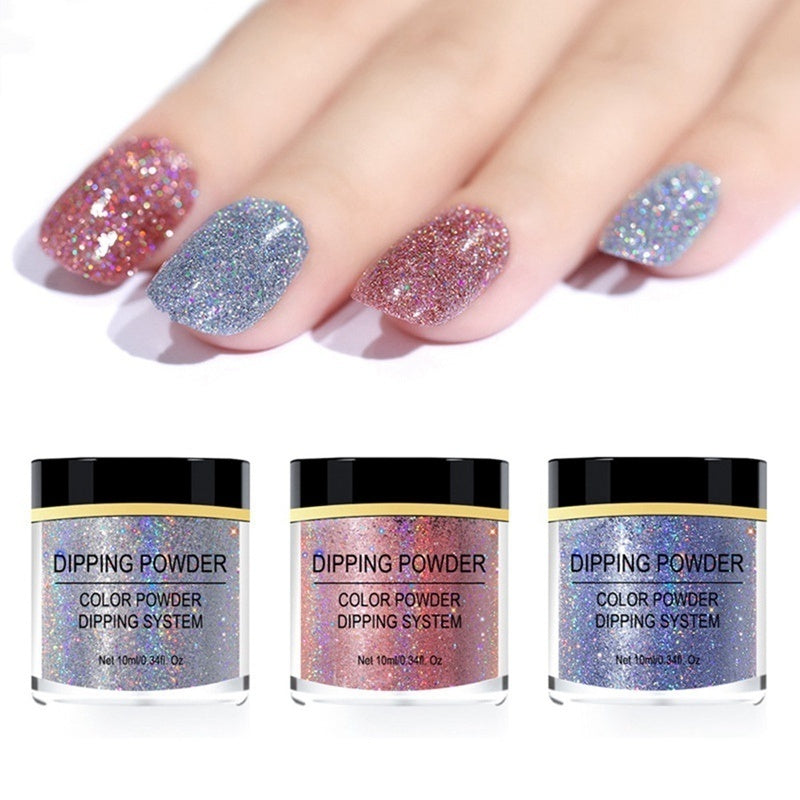 Holographic Effect Nail Dipping Powder System Glitter Natural Dry Nail Art Tool No Uv Needed