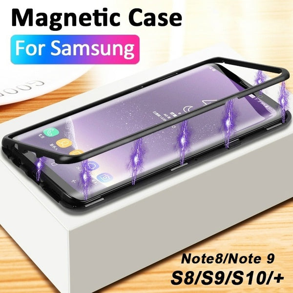 For Samsung Galaxy S10 S10 Plus S10e Magnetic Adsorption Metal Bumper Glass Case Cover for Samsung Galaxy S9 S9 Plus S8 S8 Plus A10 A30 A50 A70 M10 M20 M30 S7 Edge Note 9 8 Glass Cover
