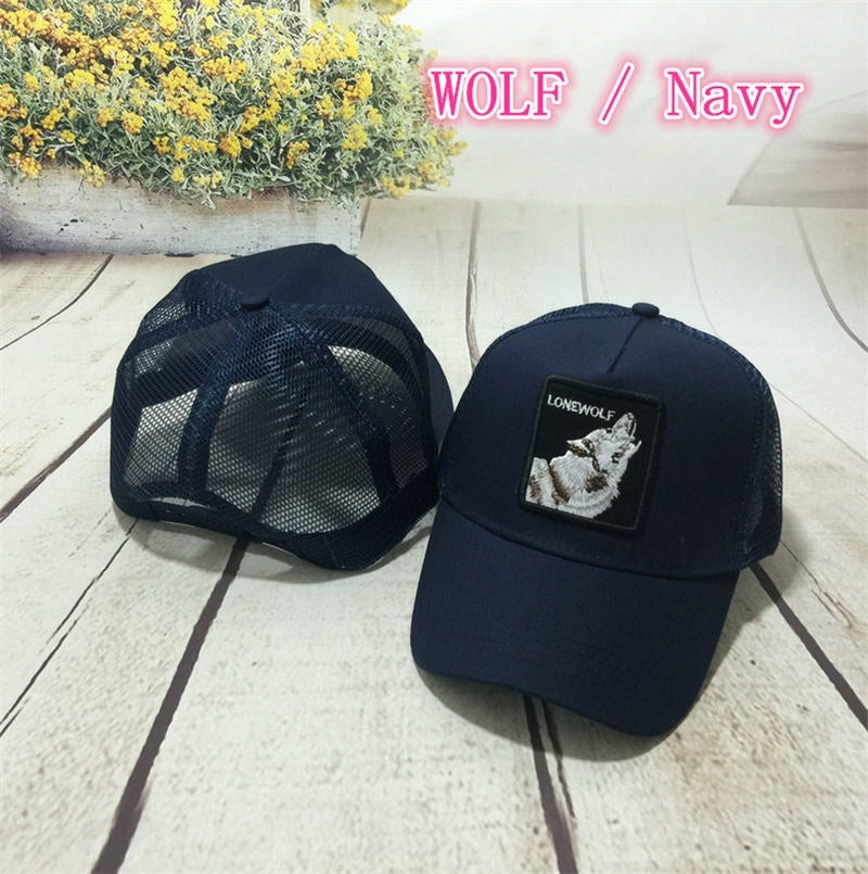 Unisex Animals Embroidery Baseball Cap Hip Hop Mesh Trucker Hat with Adjustable
