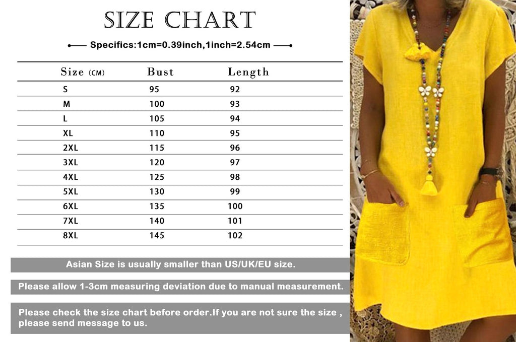 Women Summer Short Sleeve V Neck Pure Color Pocket Loose Casual Dress